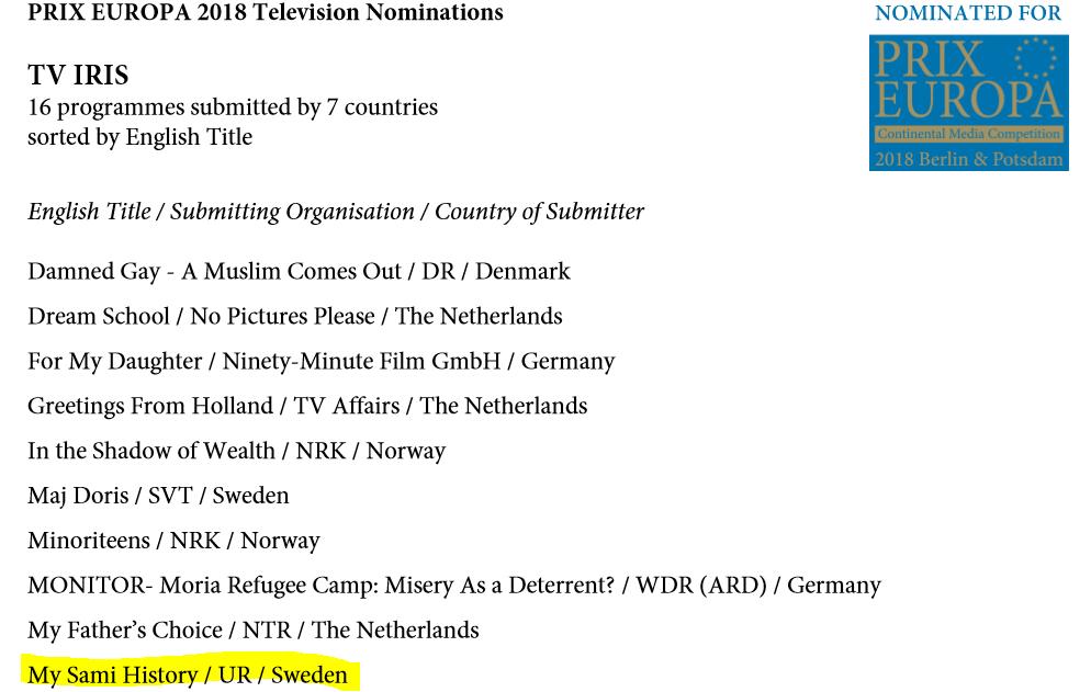 Prix Europa TV IRIS nominering