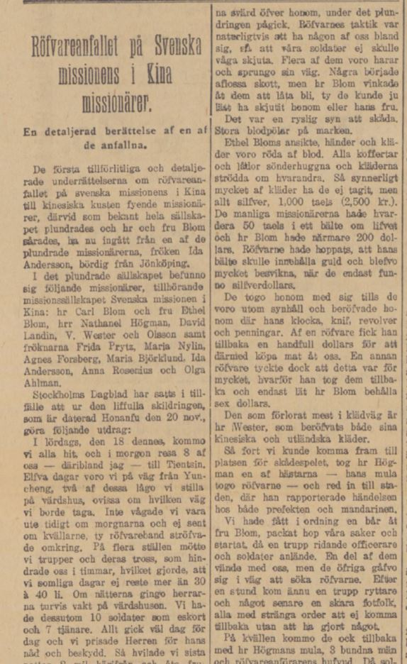 The article about the robbery in the Gothenburg edition of Aftonbladet, 1911.